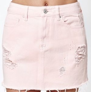 PacSun Pink Distressed Jean Mini Skirt * 24